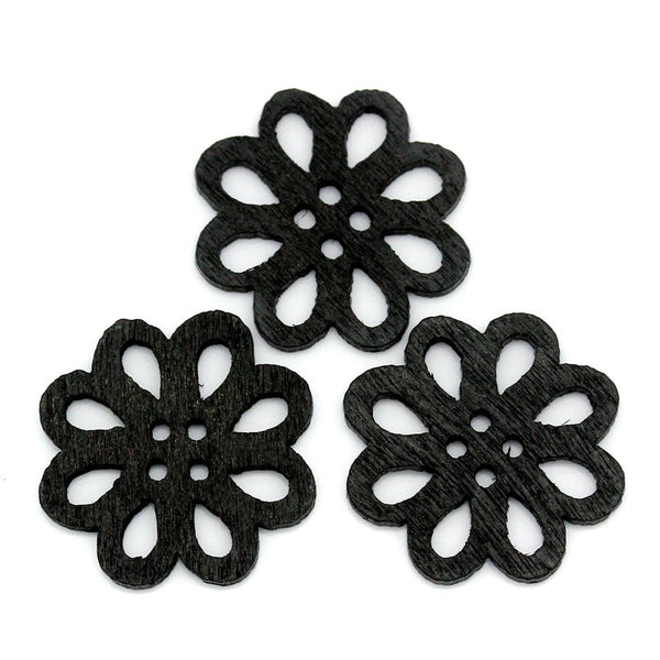 Sexy Sparkles 10 Pcs Flower Shaped Black Wood Buttons