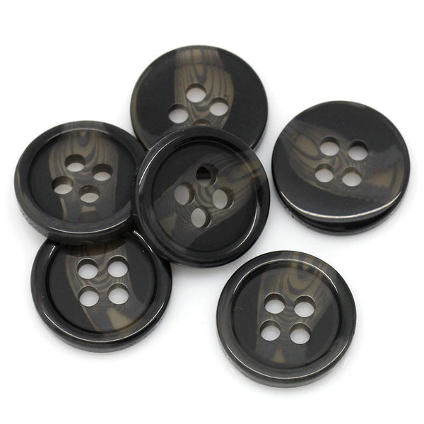 Sexy Sparkles 25 Pcs, Round 4 Holes Black Resin Buttons 12.5mm Dia,