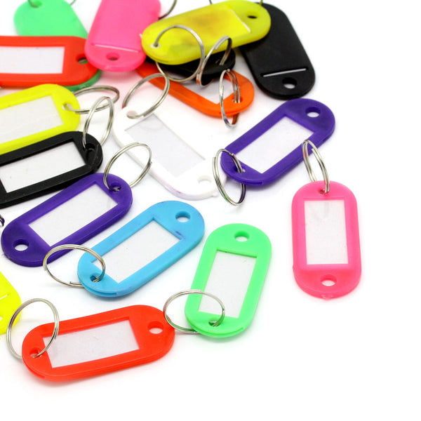 Sexy Sparkles 20 Pcs Plastic Key Tags Key Rings Id Tags Assorted Colors 66mm X 22mm