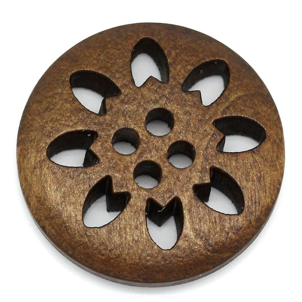 "Sexy Sparkles 50PCs Wood Sewing Buttons Scrapbooking 4 Holes Round Mixed 3cm(1 1/8"") Dia."