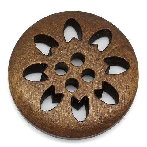 "50PCs Wood Buttons Sewing Snowflake Carved 4 Holes Brown 25mm Dia.(1"")"