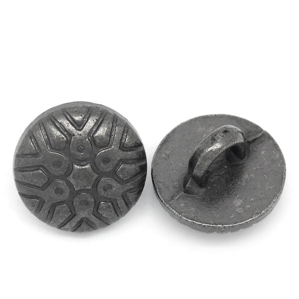 Sexy Sparkles 10 Pcs, Round Gunmetal Pattern Carved Buttons 12x8mm