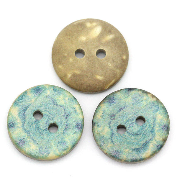 Sexy Sparkles 5 Pcs Coconut Shell Round Natural Buttons with Blue Flower Pattern 15mm