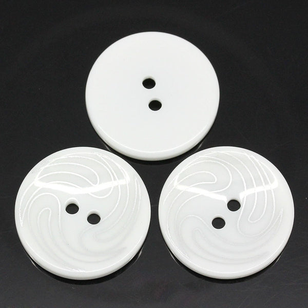 Sexy Sparkles 5 Pcs Resin Round White with Silver Stripe Buttons 25mm