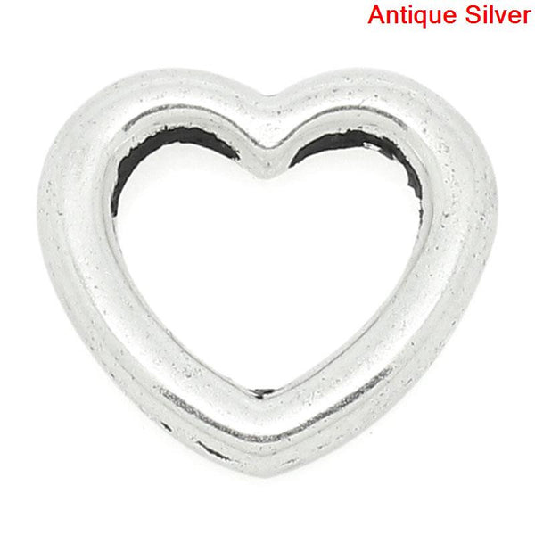 Sexy Sparkles 10 Pcs Heart Hollow Charm Beads Silver Tone 10mm jewelry making