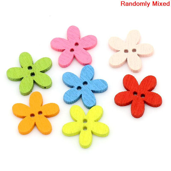 Sexy Sparkles 10 Pcs Flower Shaped Wood Buttons Assorted Colors