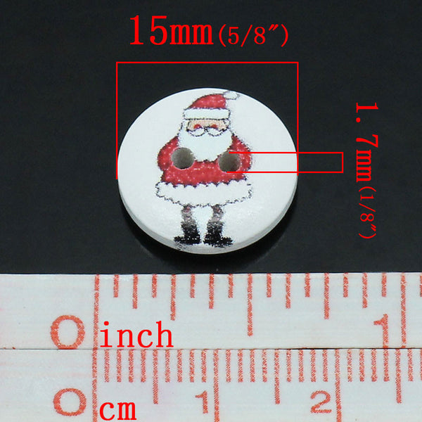 Sexy Sparkles 10 Pcs, Round 2 Holes Santa Holiday Buttons 15mm (5/8'') Dia,