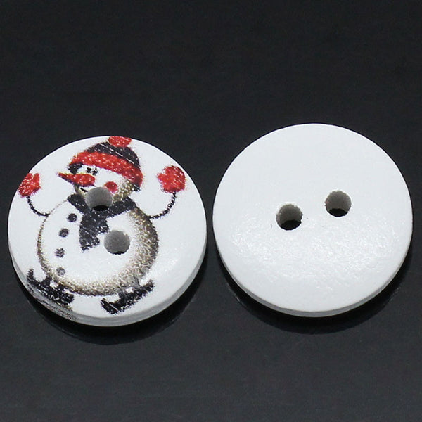 Sexy Sparkles 10 Pcs, Round Wood Snowman Holiday Buttons 15mm (5/8'')
