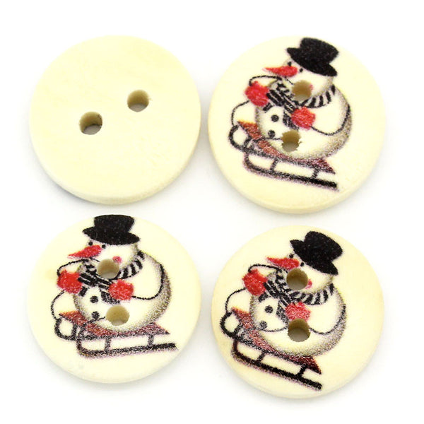Sexy Sparkles 10 Pcs Round Wood Buttons Snowman Holiday Buttons 15mm (5/8'')