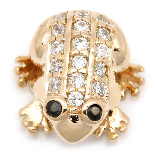Sexy Sparkles 1 Pc Charm Bead Frog Copper Rose Gold Micro Pave Clear with Cubic Zirconia