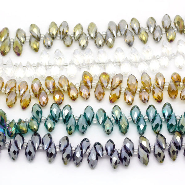 Sexy Sparkles 1 Strand Loose Beads White Teardrop Mixed AB Color Faceted