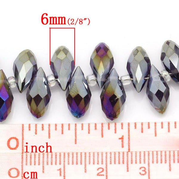 Sexy Sparkles 1 Strand Loose Beads Purple Teardrop Mixed AB Color Faceted