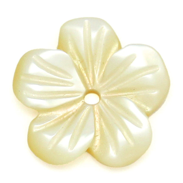 Sexy Sparkles 4 Pcs, Pale Yellow Flower Shell Beads 11x11mm (3/8''x3/8''), Hole: Approx 1mm