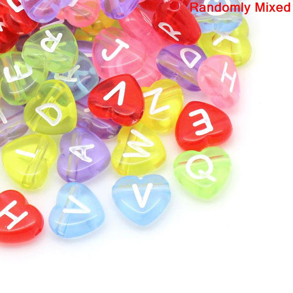 "Sexy Sparkles 300 Pcs, Mixed Alphabet Acrylic Heart Spacer Beads/ Letter ""A-Z"""