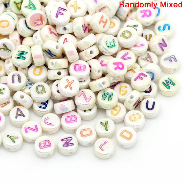 "Sexy Sparkles 500 Pcs, Mixed Alphabet Acrylic Round Spacer Beads/ Letter ""A-Z"""