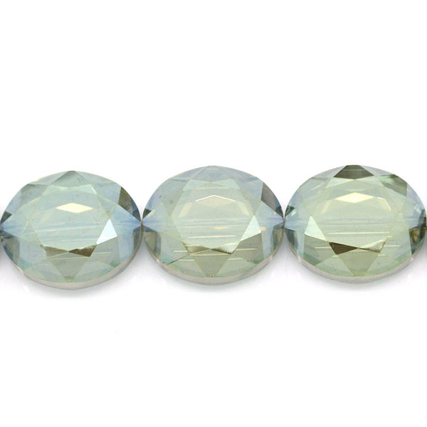 Sexy Sparkles 1 Strand, Glass Loose Beads Oval Champagne Faceted 24x20mm, 60cm (23 5/8'') 1 Strand/25pcs