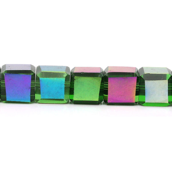Sexy Sparkles 1 Strand Glass Loose Bead Cube Multicolor 33cm