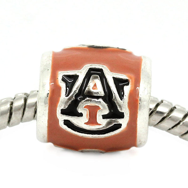 Auburn University Football Team Logo European Bead For European Charm Bracelets - Sexy Sparkles Fashion Jewelry - 1