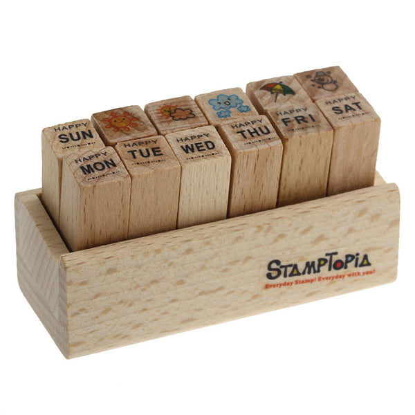 Rubber Stamps Wooden Days of the Week and Weather Set - Sexy Sparkles Fashion Jewelry - 1