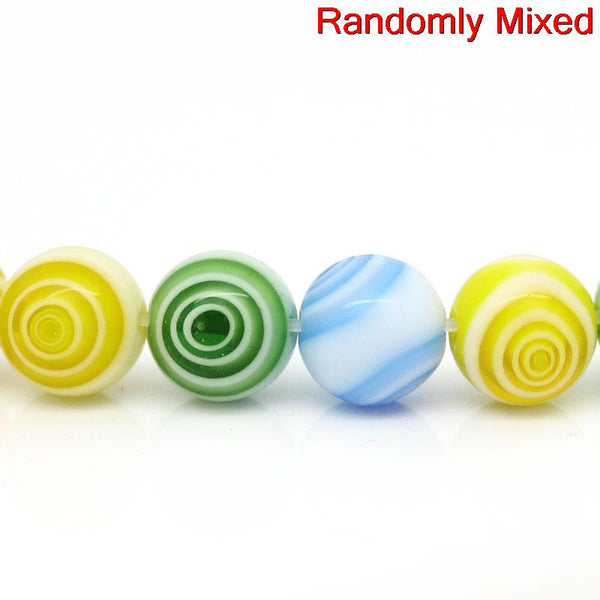 1 Strand Glass Loose Beads Ball Mixed Loop Design Multicolor 6mm - Sexy Sparkles Fashion Jewelry - 1