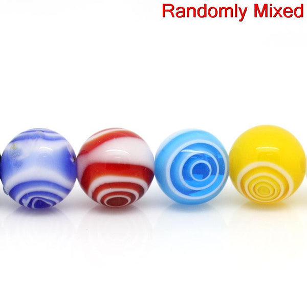 1 Strand Glass Loose Beads Ball Mixed Loop Design Multicolor 12mm - Sexy Sparkles Fashion Jewelry - 1
