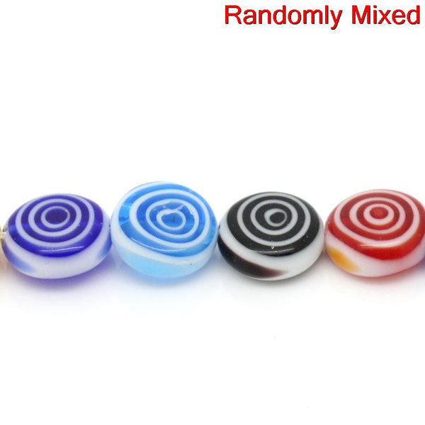 1 Strand Glass Loose Beads Round Mixed Loop Design Multicolor 12mm - Sexy Sparkles Fashion Jewelry - 1