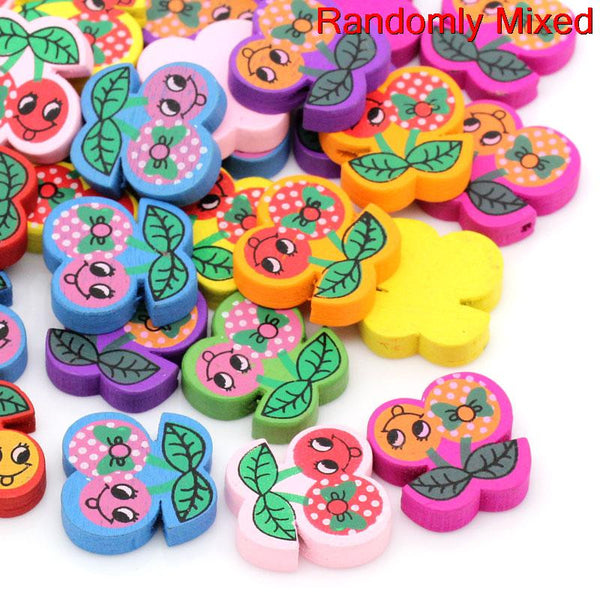 Sexy Sparkles 10 Pcs Wood Cherry Spacer Beads Assorted Colors 20mm