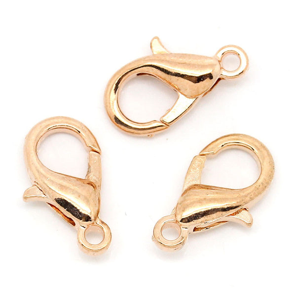 10pcs Jewelry Lobster Clasps Rose Gold Tone 15mm X 9mm - Sexy Sparkles Fashion Jewelry - 1