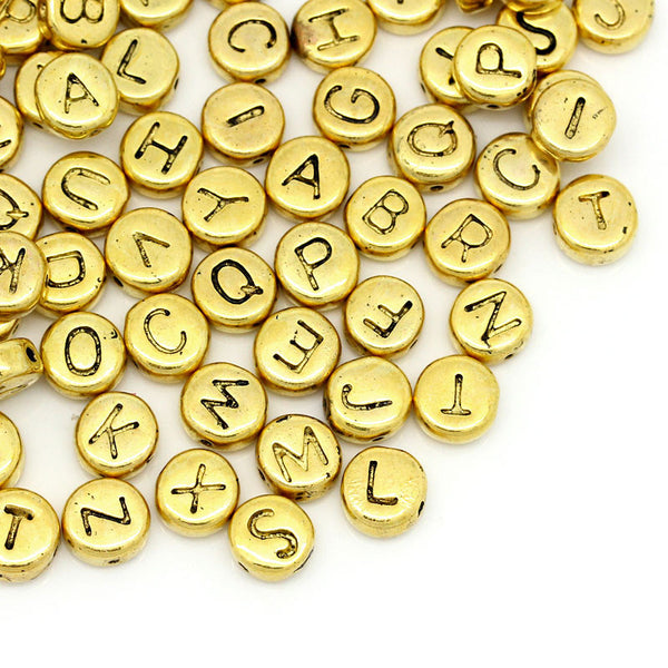 50 Pcs Spacer Beads Mixed Alphabet/ Assorted Letters Gold Tone 6mm - Sexy Sparkles Fashion Jewelry - 1