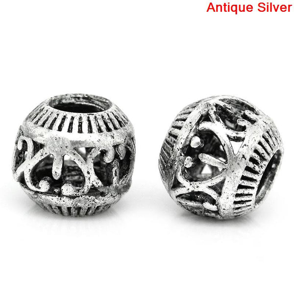 10 Pcs Round Hollow Spacer Beads Antique Silver Heart Pattern Carved 10mm - Sexy Sparkles Fashion Jewelry - 1