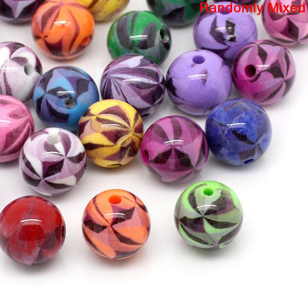 15 Pcs Acrylic Spacer Beads Round Mixed Pattern and Assorted Colors - Sexy Sparkles Fashion Jewelry - 1