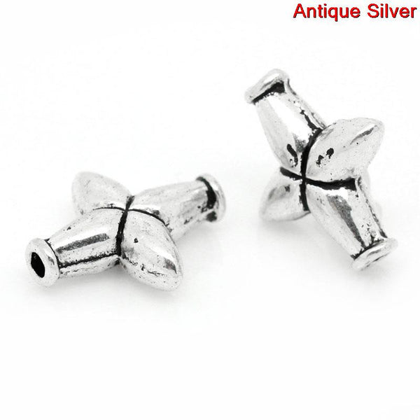 10 Pcs Cross Charm Spacer Beads Antique Silver 14mm - Sexy Sparkles Fashion Jewelry - 1