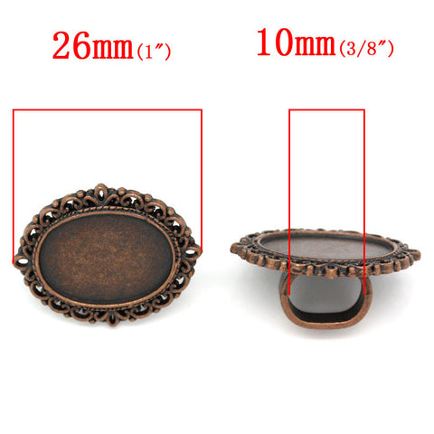 4 Pcs Cameo Oval Cabochon Setting Antique Copper Fit Watch Bands/wristbands 26mm - Sexy Sparkles Fashion Jewelry - 3