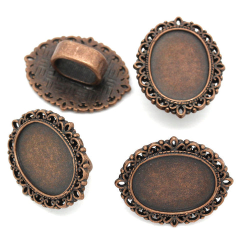 4 Pcs Cameo Oval Cabochon Setting Antique Copper Fit Watch Bands/wristbands 26mm - Sexy Sparkles Fashion Jewelry - 2