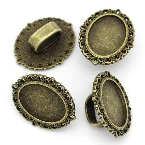 4 Pcs Cameo Oval Cabochon Setting Antique Bronze Fit Watch Bands/wristbands 26mm - Sexy Sparkles Fashion Jewelry - 2