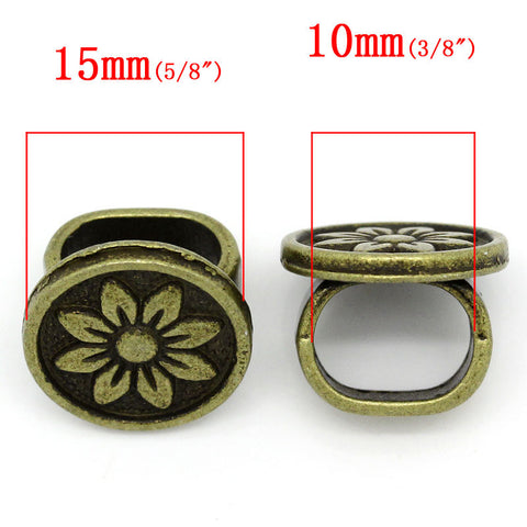 4 Pcs Round Charm Beads Antique Bronze Flower Design Carved Fit Watch Bands/w... - Sexy Sparkles Fashion Jewelry - 3