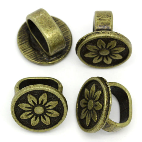 4 Pcs Round Charm Beads Antique Bronze Flower Design Carved Fit Watch Bands/w... - Sexy Sparkles Fashion Jewelry - 2