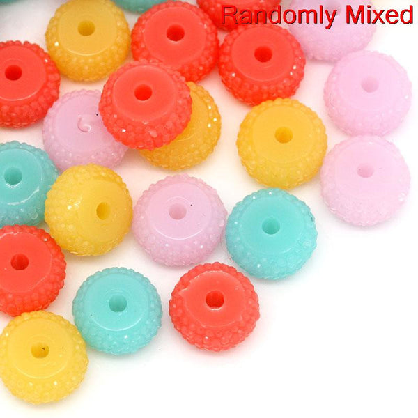 10 Pcs, Round Multicolor Resin Spacer Bead 12mm Dia, Hole: Approx 2.2mm - Sexy Sparkles Fashion Jewelry - 1