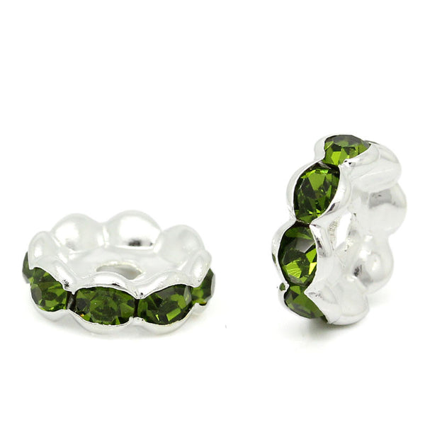 20 Pcs Green Rhinestone Rondelle Spacer Beads Round Silver Plated 10mm - Sexy Sparkles Fashion Jewelry - 1
