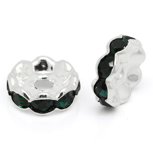 20 Pcs Dark Green Rhinestone Rondelle Spacer Beads Round Silver Plated 10mm - Sexy Sparkles Fashion Jewelry - 1