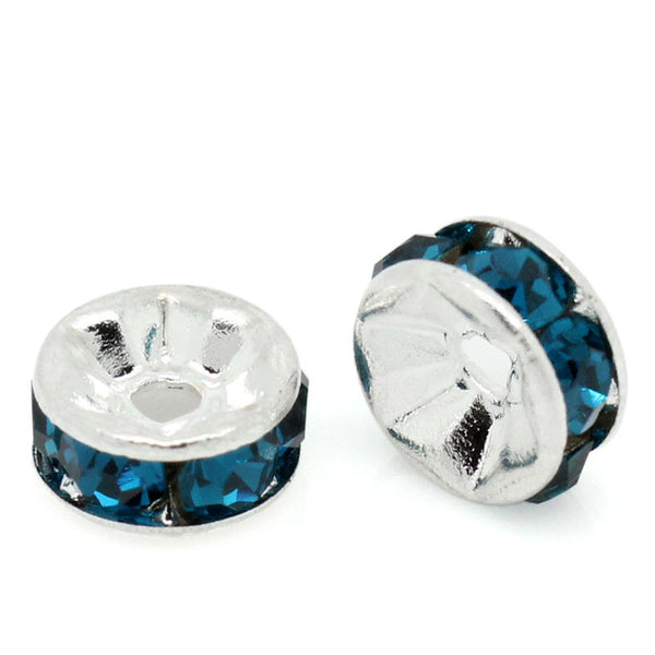 25 Pcs Blue Rhinestone Rondelle Spacer Beads Round Silver Plated 6mm - Sexy Sparkles Fashion Jewelry - 1