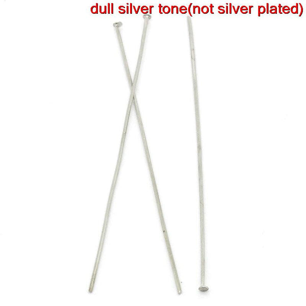 100 Pcs Head Pins Findings Silver Tone 70mm 21 Gauge - Sexy Sparkles Fashion Jewelry - 1
