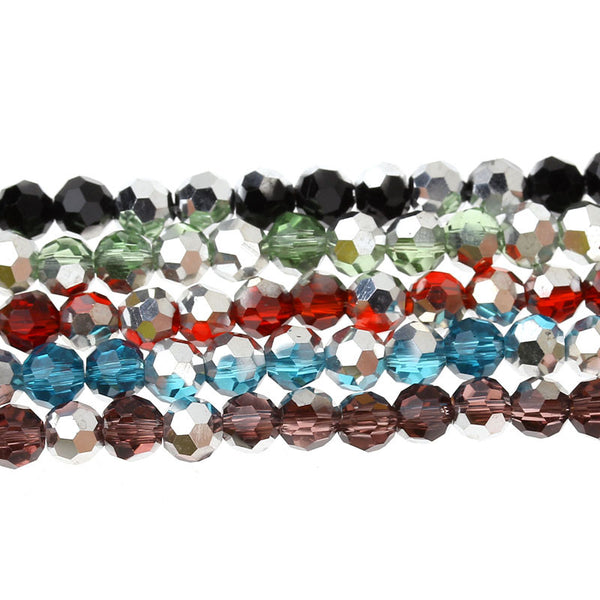 Sexy Sparkles 1 Strand Blue and Silver  Crystal Glass Loose Beads Flat Round Multicolor Faceted 4mm 1 Strand/98 Pcs