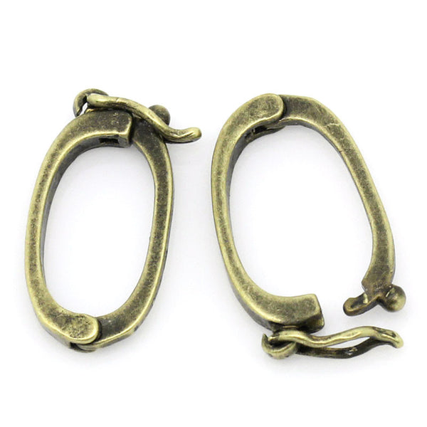 4 Pcs Oval Earring Findings Lever Backs Antique Bronze 16x9mm - Sexy Sparkles Fashion Jewelry - 1