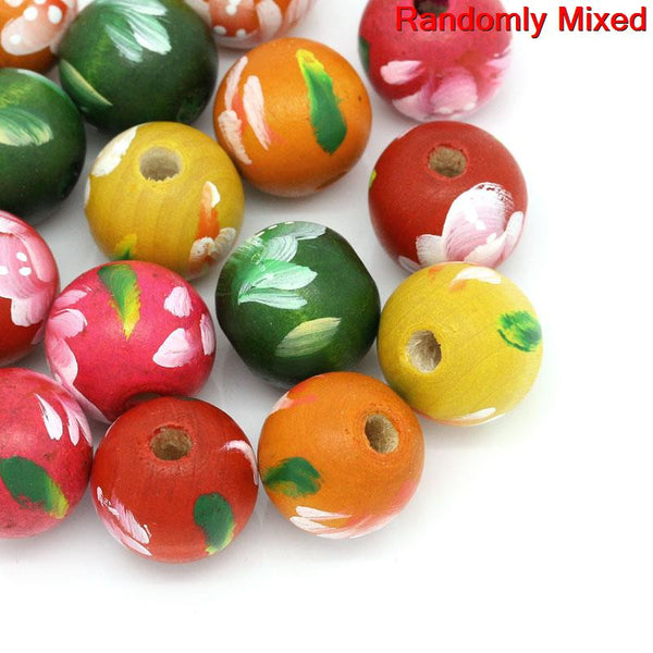 5 Pcs, Wooden Multicolor Flower Pattern Hand Painted Spacer Bead - Sexy Sparkles Fashion Jewelry - 1