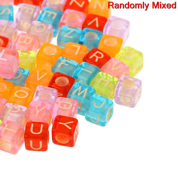 1000 Pcs Acrylic Spacer Beads Multicolor Cube Mixed Alphabet/ Assorted Letters - Sexy Sparkles Fashion Jewelry - 1