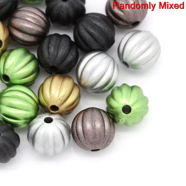 20 Pcs Ball Charm Spacer Bead Mixed Color Stripe Pattern 10mm - Sexy Sparkles Fashion Jewelry - 1