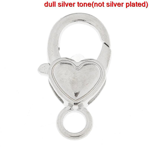5 Pcs Silver Plated Jewelry Lobster Heart Clasps 27mm - Sexy Sparkles Fashion Jewelry - 1
