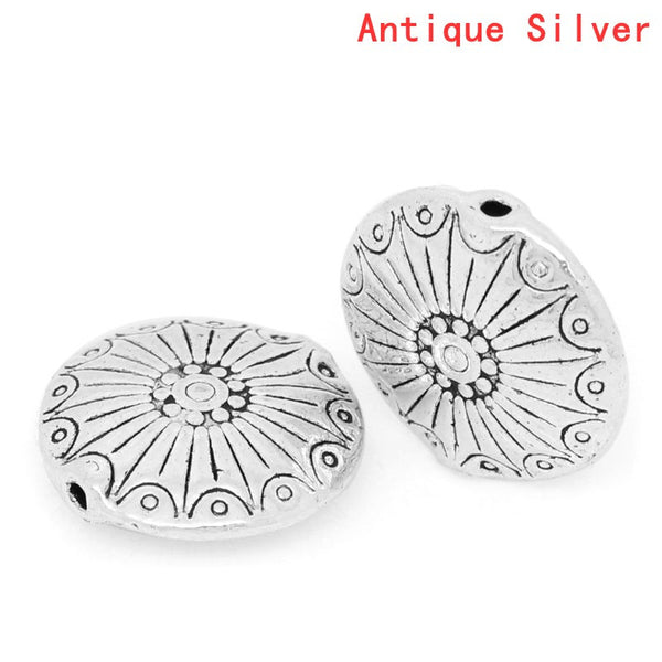 5 Pcs Silver Toned Flat Carved Spacer Bead 18mm (6/8'') Dia, Hole: Approx 1.1mm - Sexy Sparkles Fashion Jewelry - 1