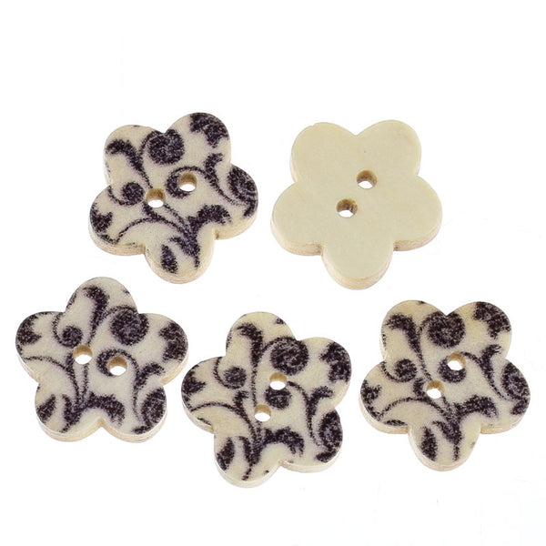 10 Pcs Flower Shaped Natural Wood Buttons with Black Leaf Pattern 17mm - Sexy Sparkles Fashion Jewelry - 1